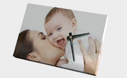 Orologio su tela personalizzata con foto di mamma con bambino